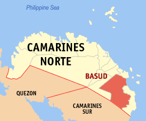 Map of Camarines Norte showing the location of Basud