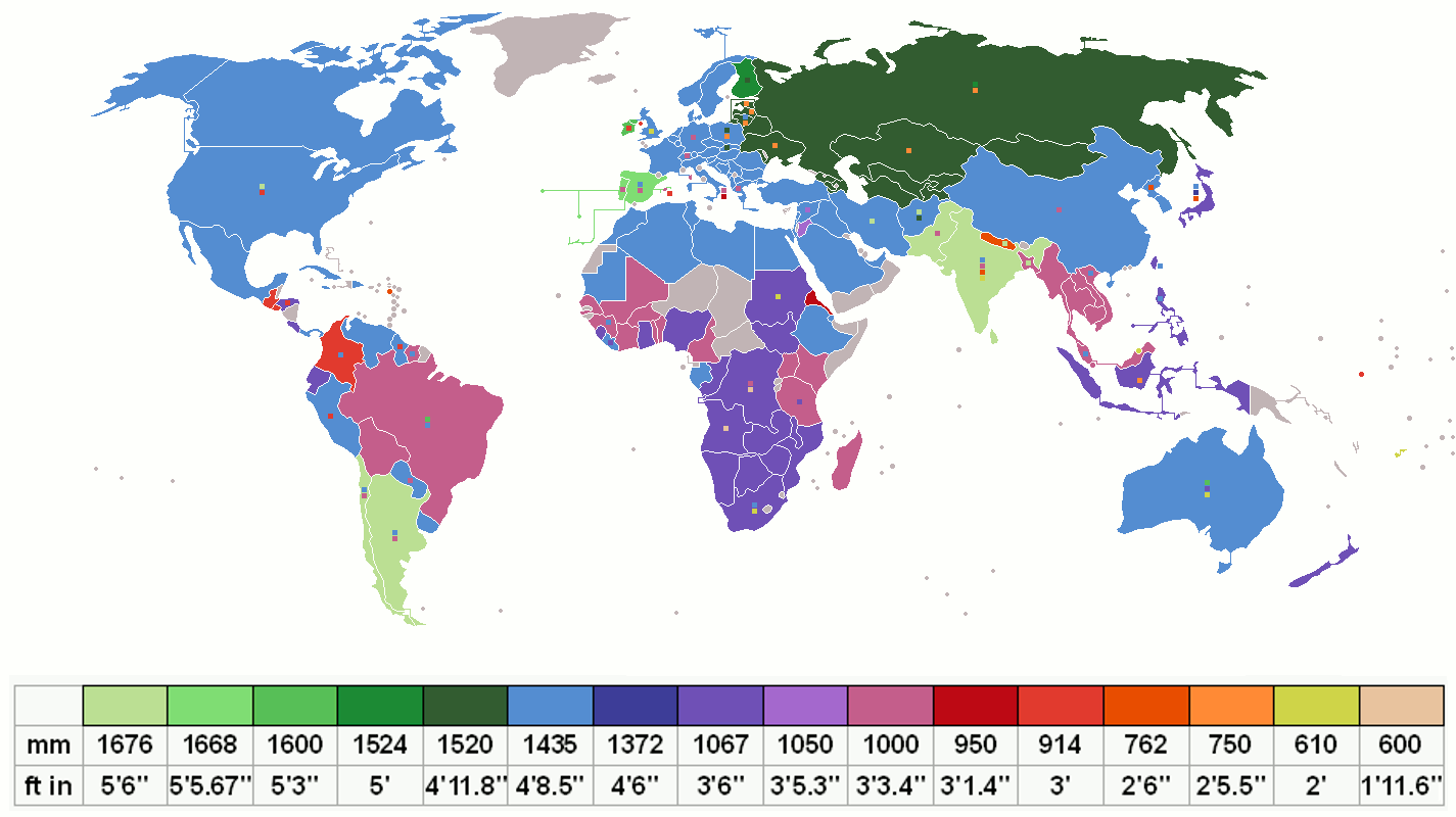 eisenbahnspurbreiten weltweit