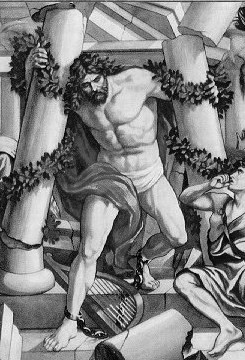 Samson Destroys the Temple (1890), Holman Bible (Wikipedia)