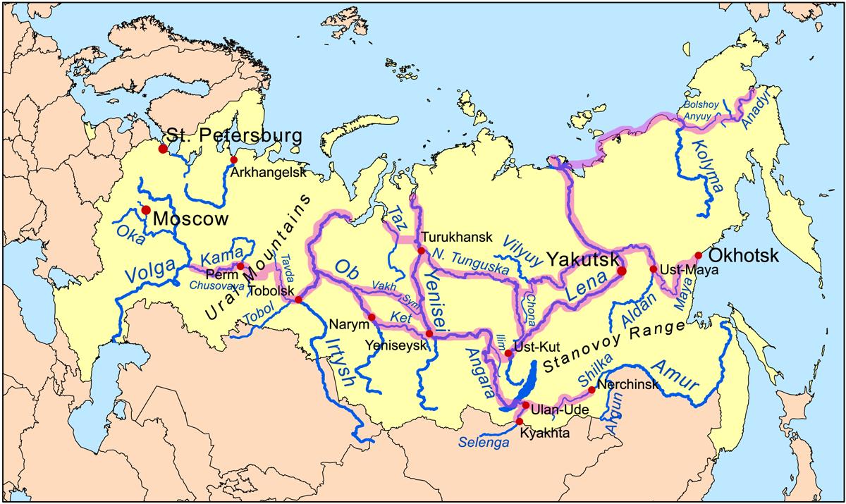 Yenisei River Map File:Siberiariverroute...