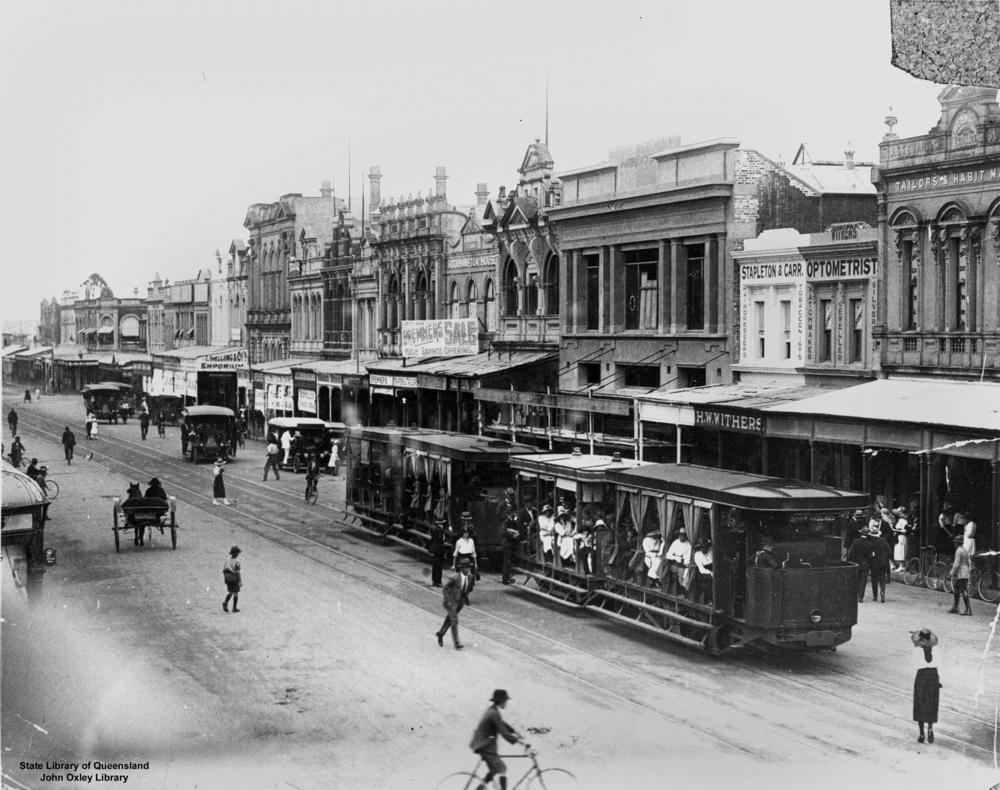File Statelibqld 2 187307 Trams And Other Vehicles On East