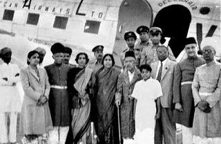 The seventh Nizam, Mir Osman Ali Khan, along with some aides takes his first ride in a Deccan Airways Dakota from Begumpet airport