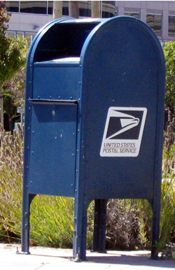 A typical United States Postal Service mailbox...