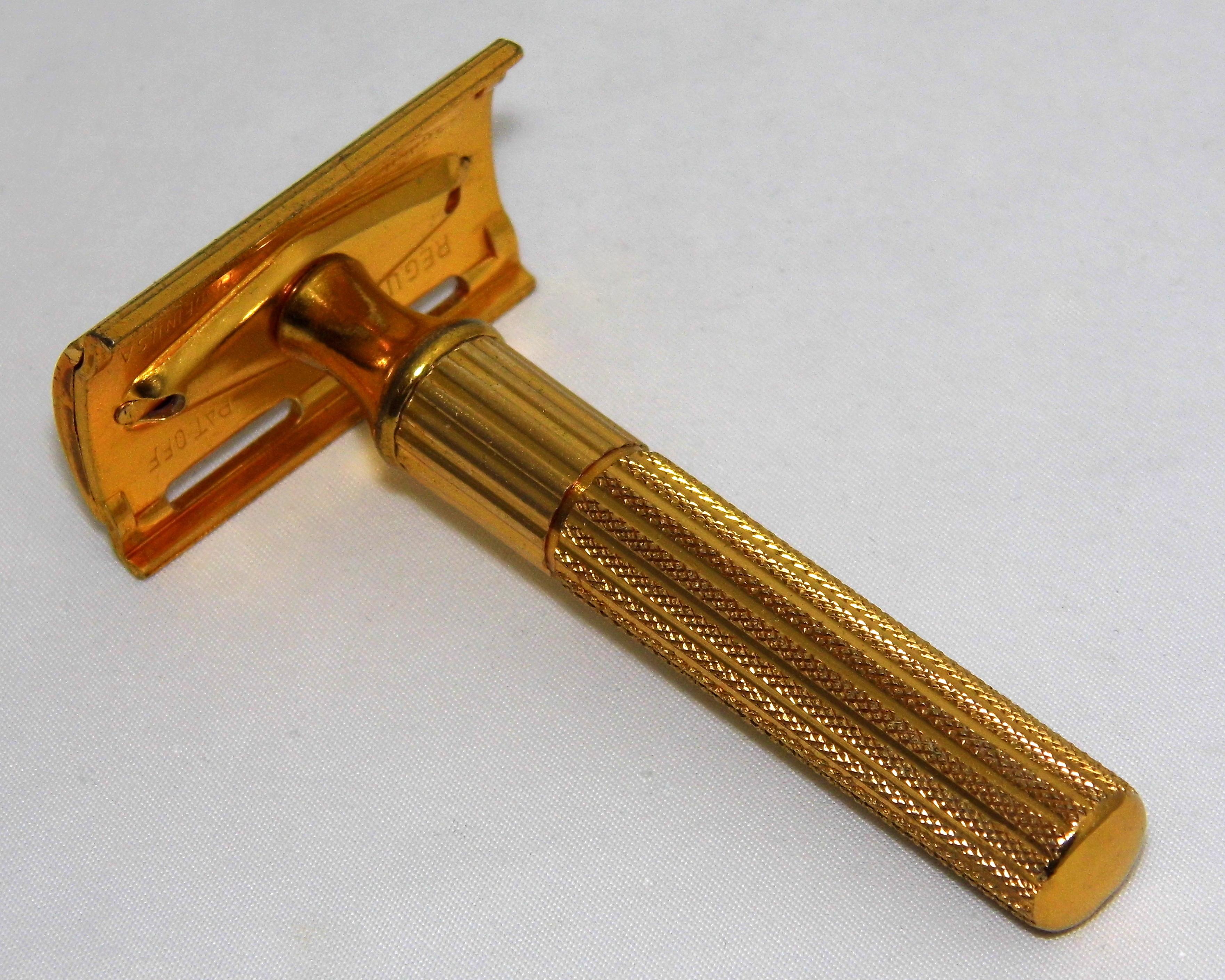 aafbf5d503d File Vintage Gillette Fat Handle Gold Tech DE 3-Piece Safety Razor ...