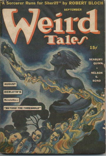 Front cover of Weird Tales volume 36 number 1, dated September 1941, featuring a ginat blue figure with stars for eyes holding a chain of people.
