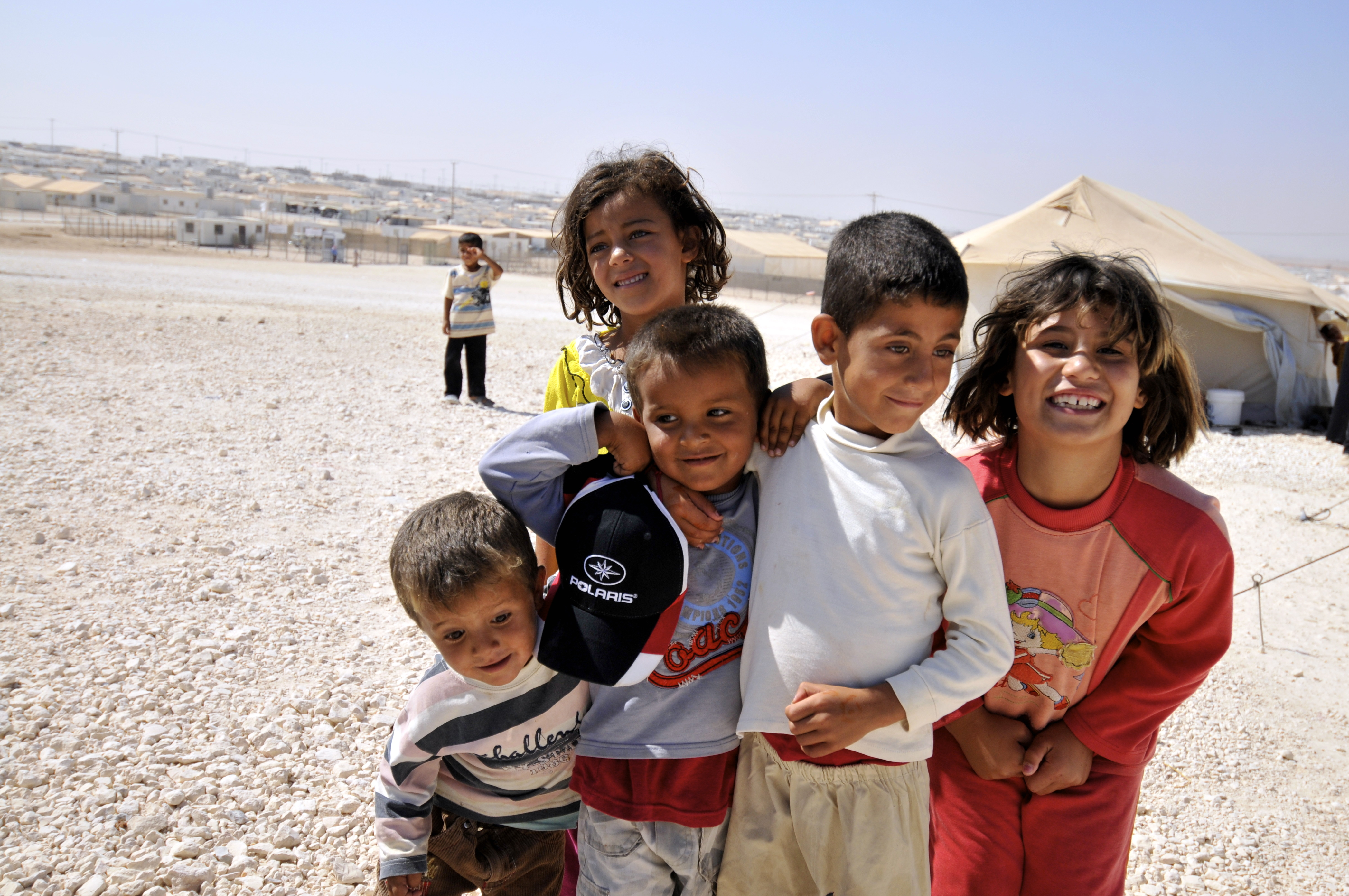 Syrian refugees at Zaatari refugee camp in jordan