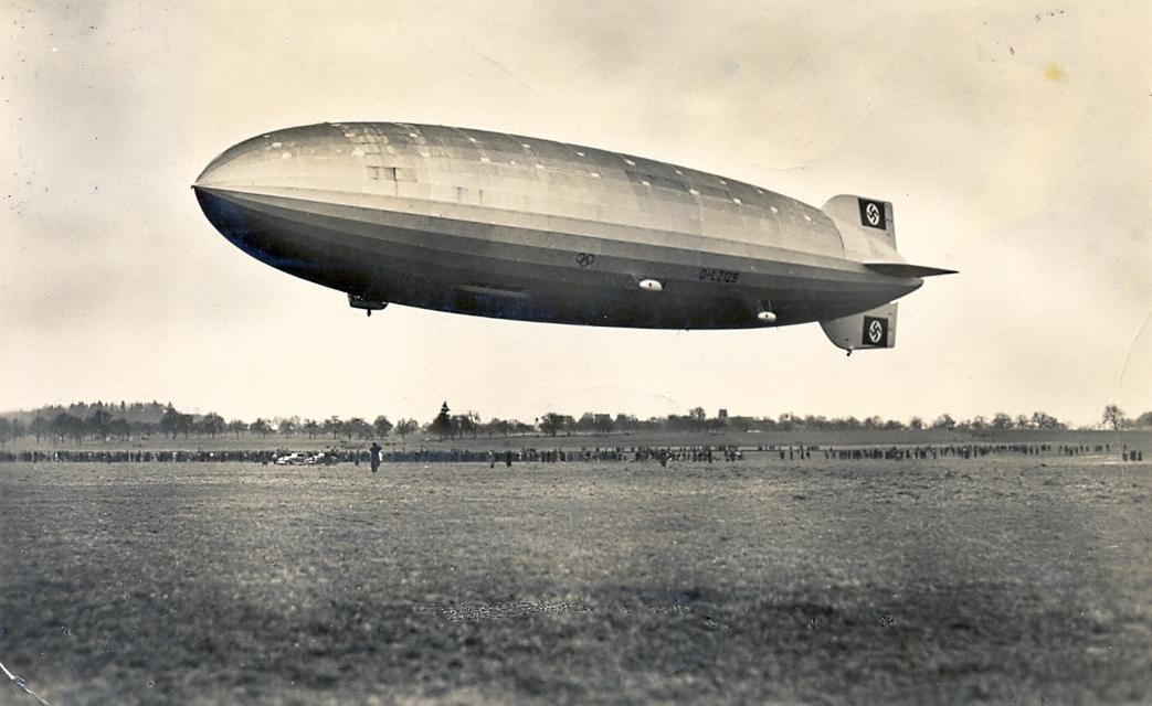 Hindenburg on its first flight on March 4, 1936. The name of the airship was not yet painted on the hull.