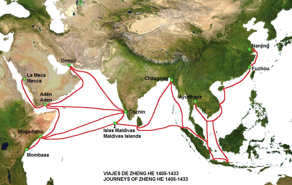 Travels Of Zheng He Worldmap
