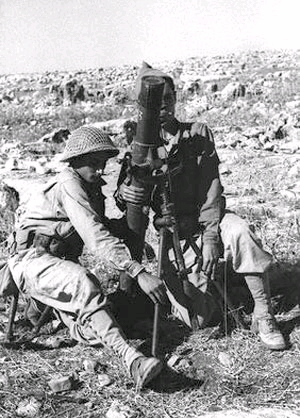 An Israeli mortar team outside Safsaf in October 1948. Zionist mortar team outside Zafzaf in October 1948.png