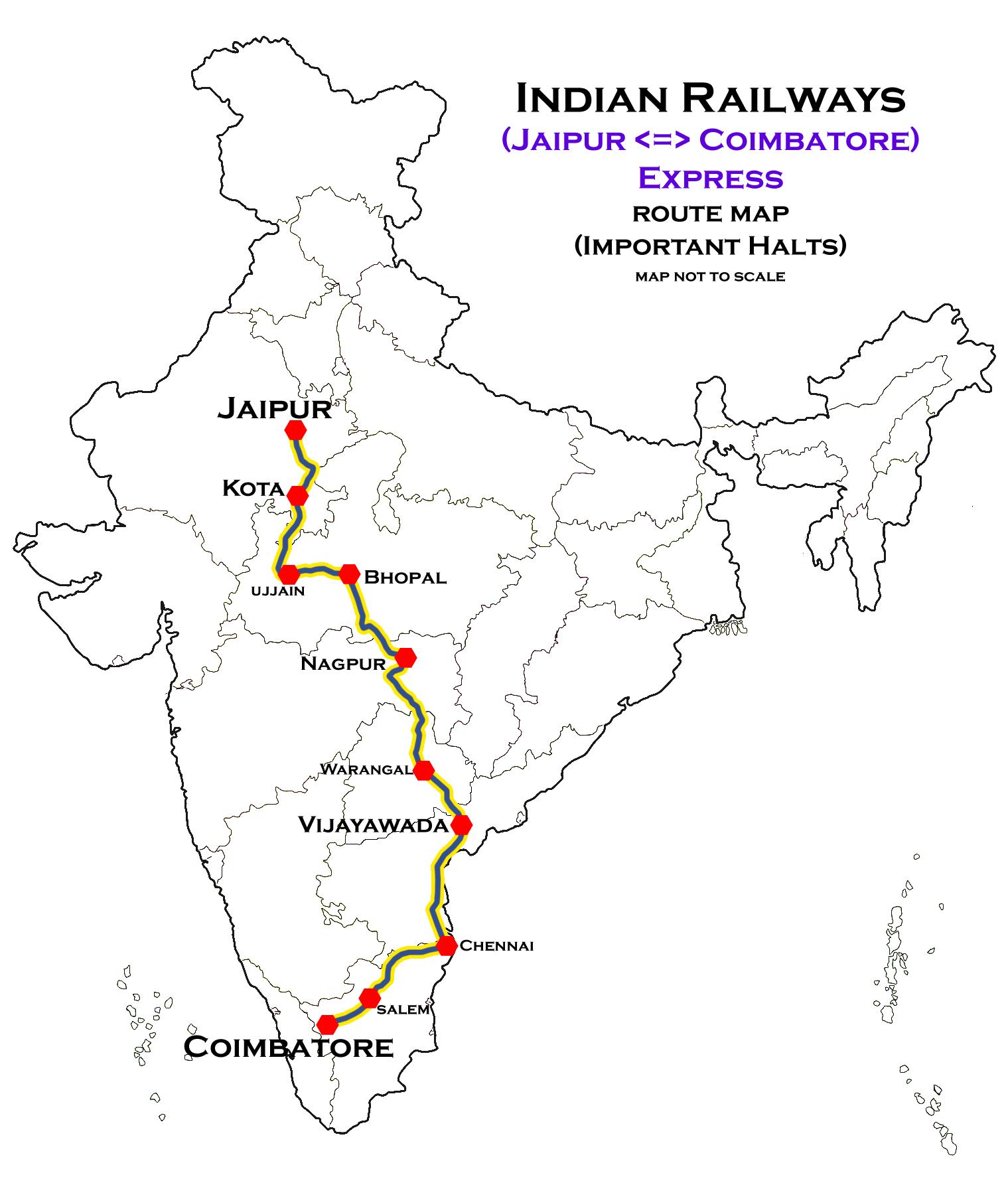 Coimbatore Route Map Coimbatore–Jaipur Superfast Express   Wikipedia