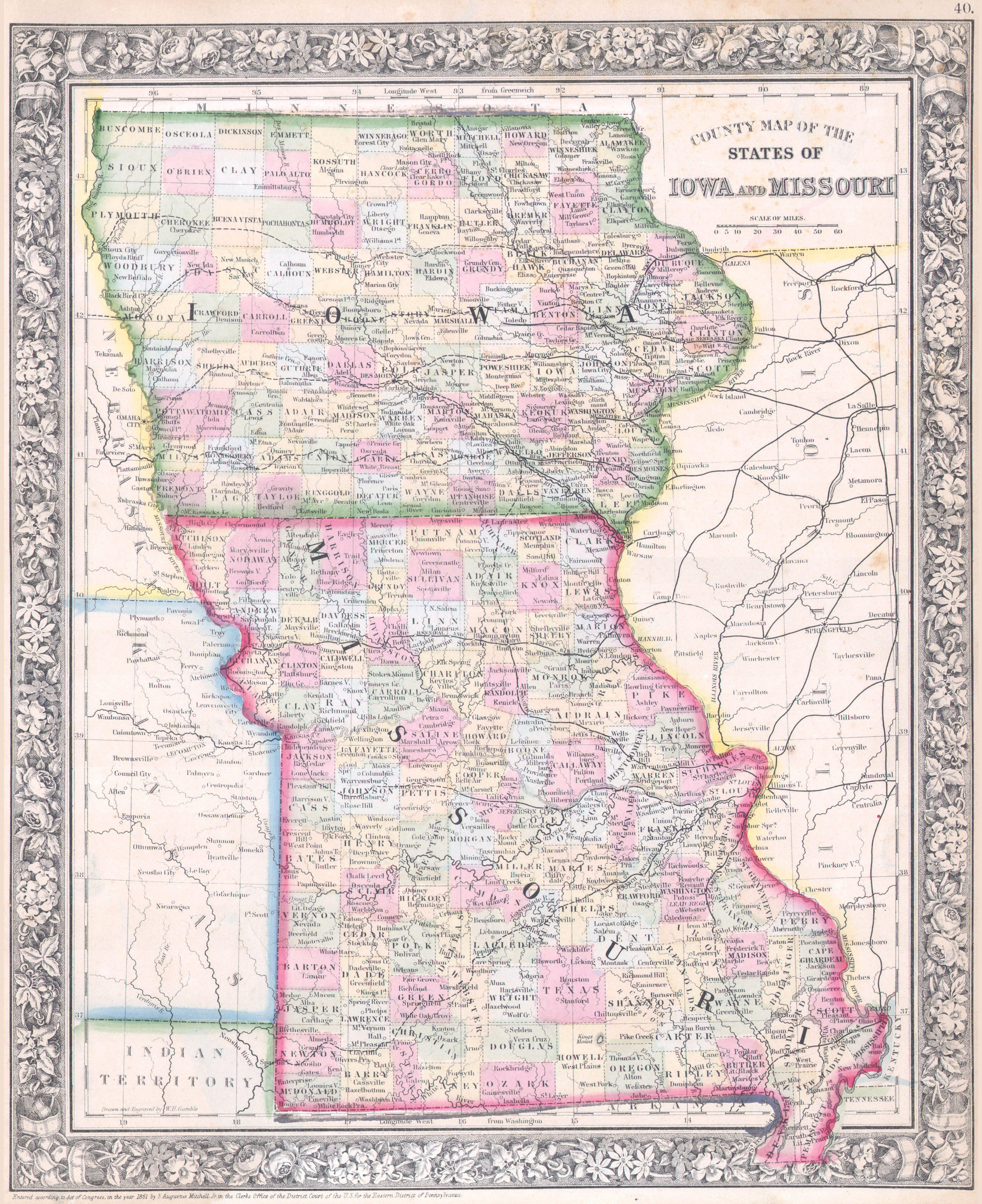File1864 Mitchell Map Of Iowa And Missouri  Geographicus