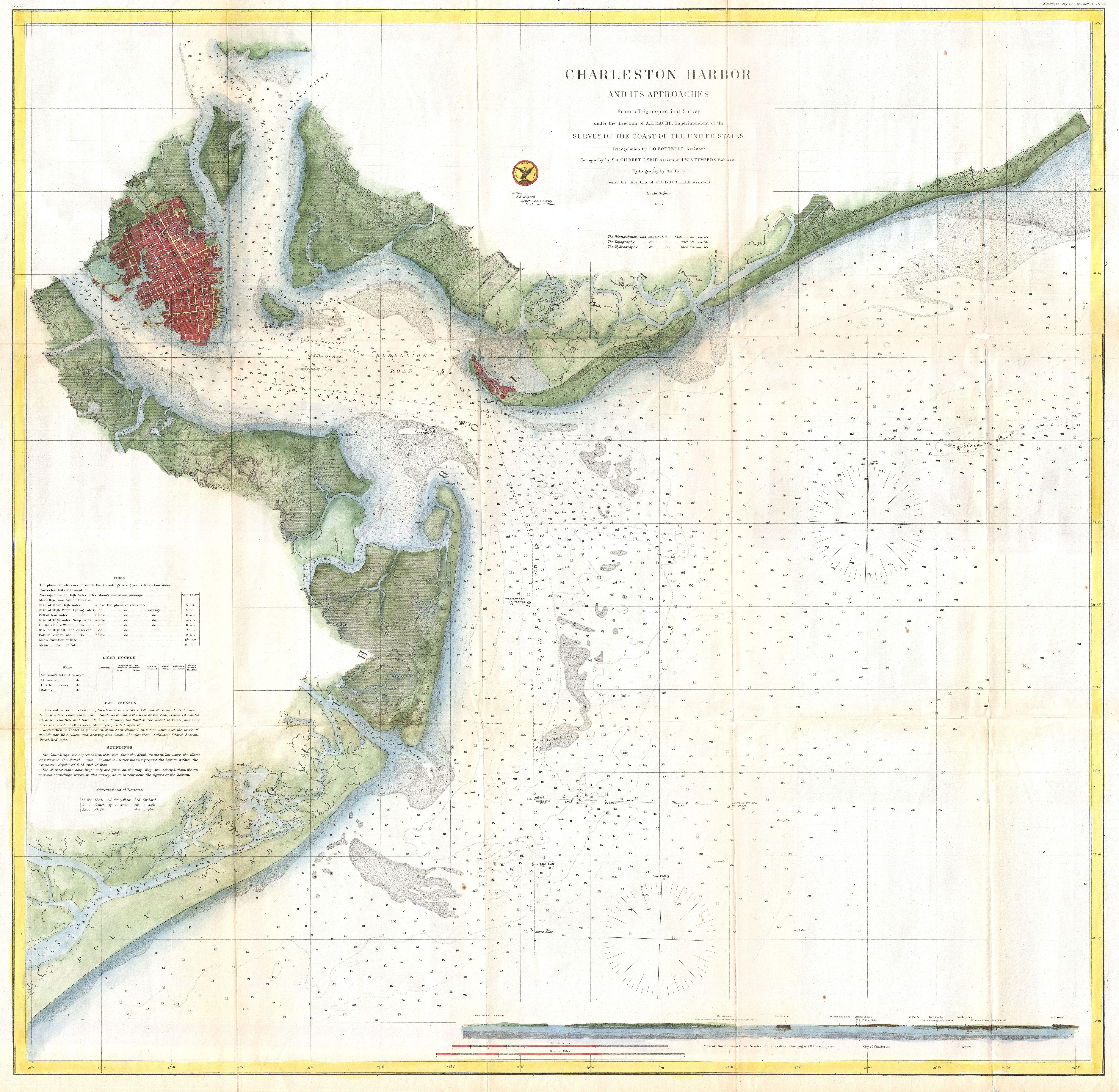 File 1866 U S Coast Survey Nautical Chart Of Charleston Harbor South Carolina Geographicus