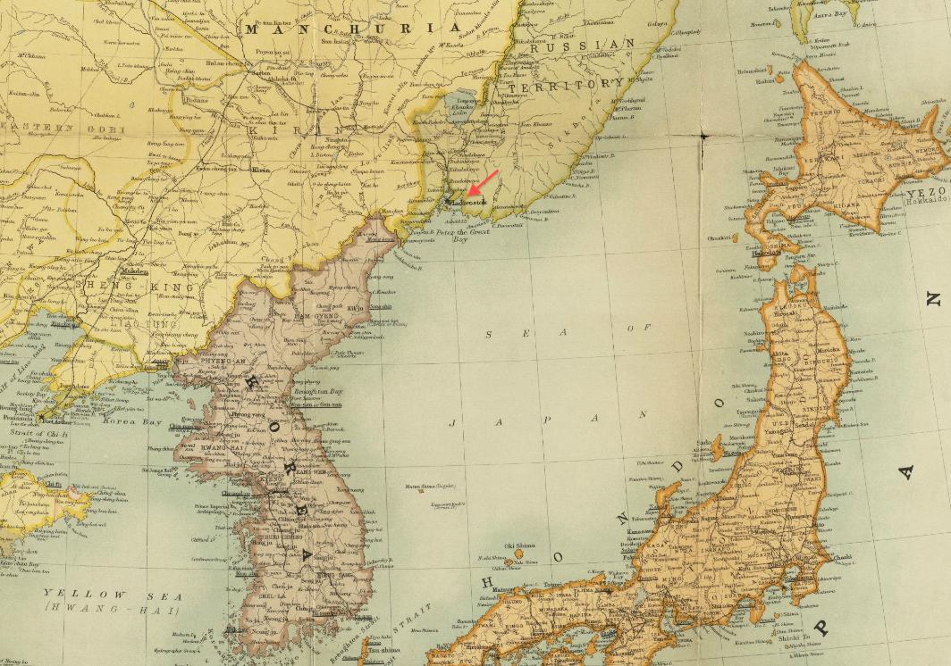 File1904 Vladivostok detail Maps of the Far East by Bartholomew