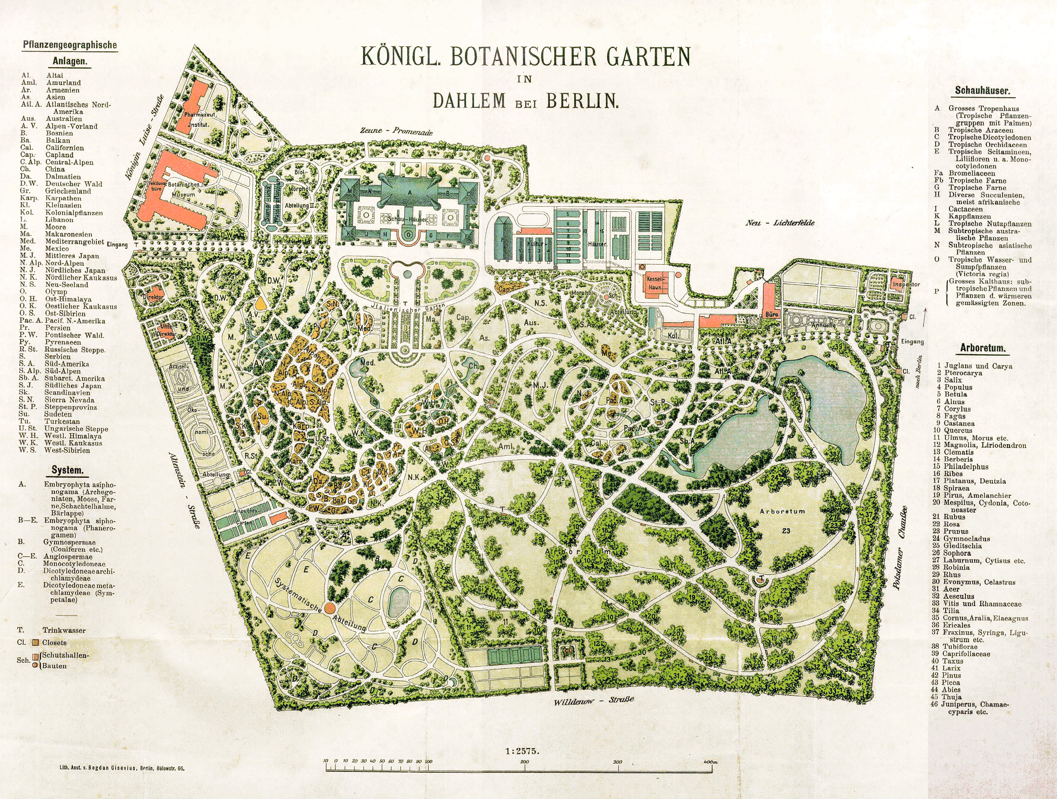 Description 1909 botanischer garten plan