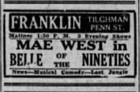 File:1934 - Franklin Theater Ad - 10 Nov MC - Allentown PA.jpg