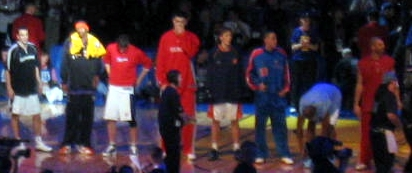 Boozer First From Right Standing With The Sophomores Team During 2004 Rookie Challenge