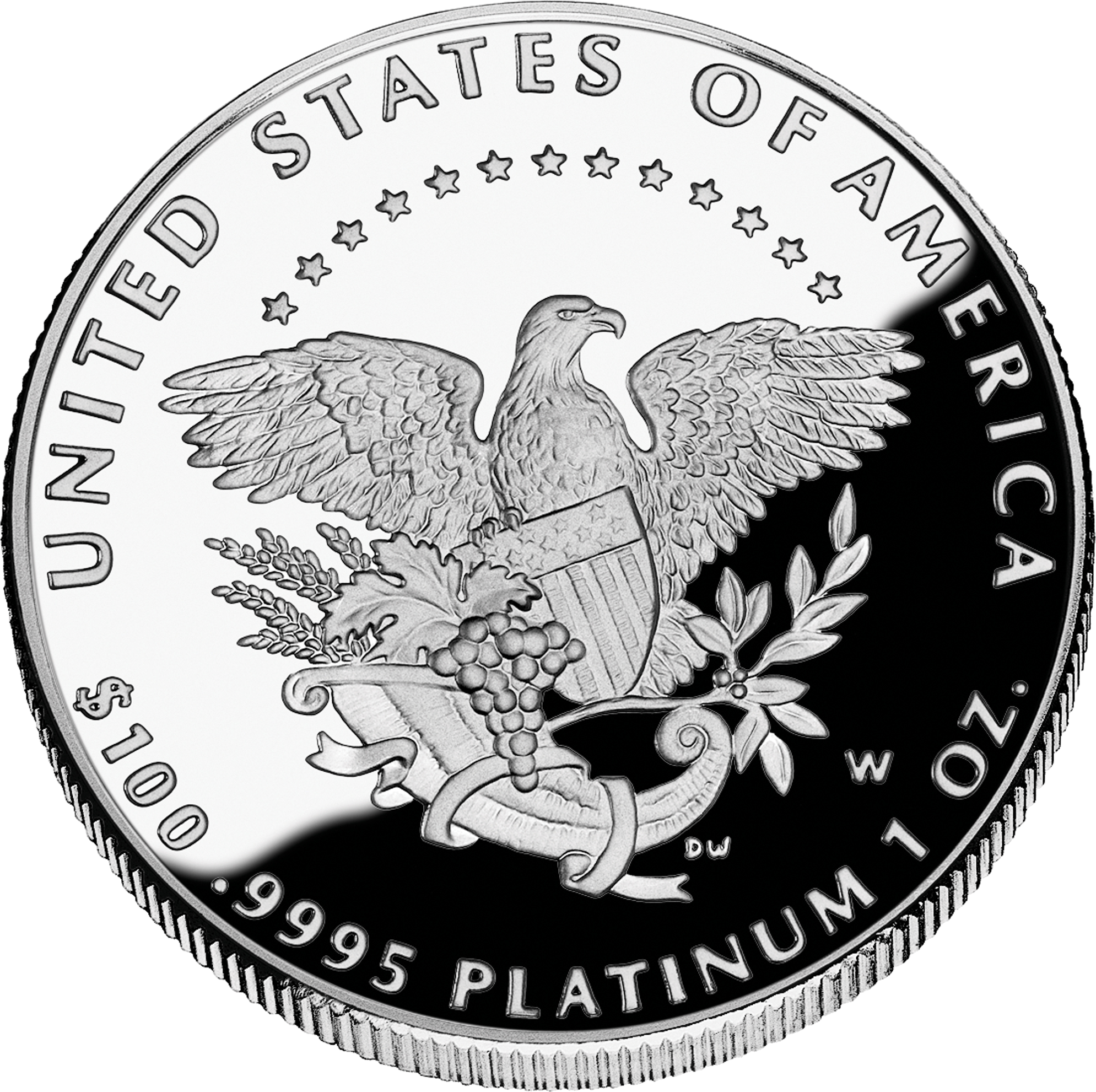 reverse side of the 2005 American Platinum Eagle proof coin