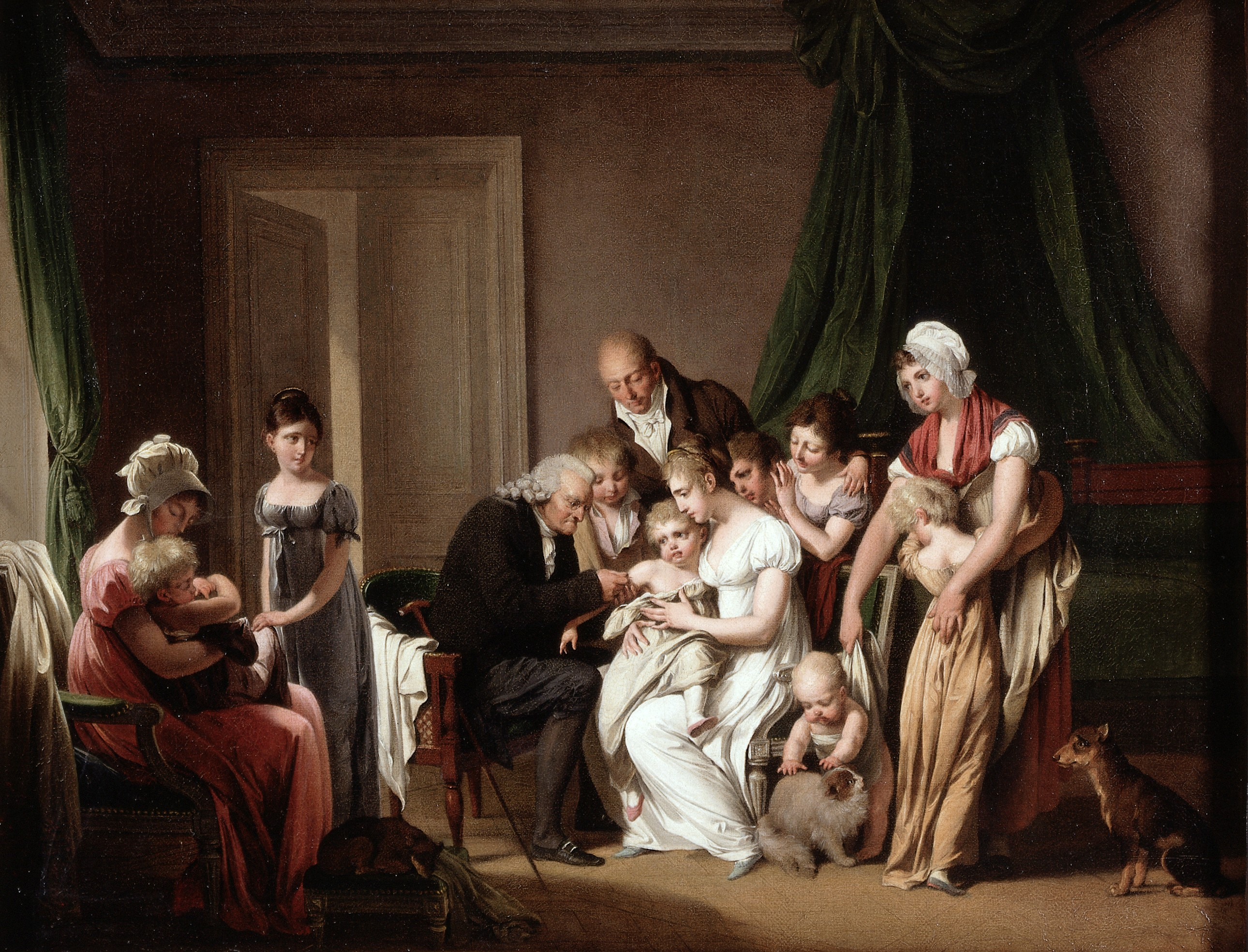 an 18th century painting of a man vaccinating a child held in a woman's arms while the family looks on