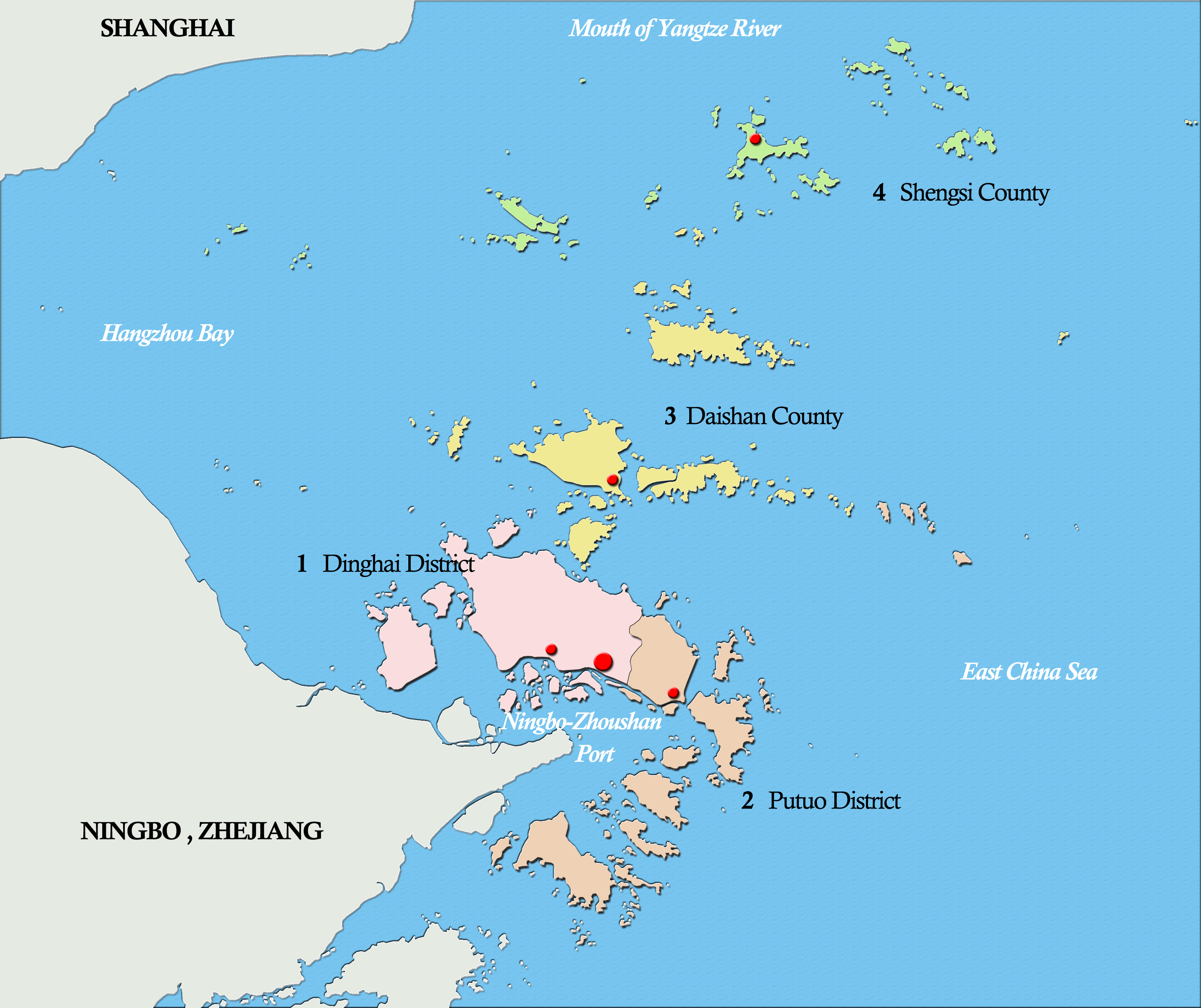 Zhoushan China  city photo : Administrative Map of Zhoushan Wikipedia, the free ...