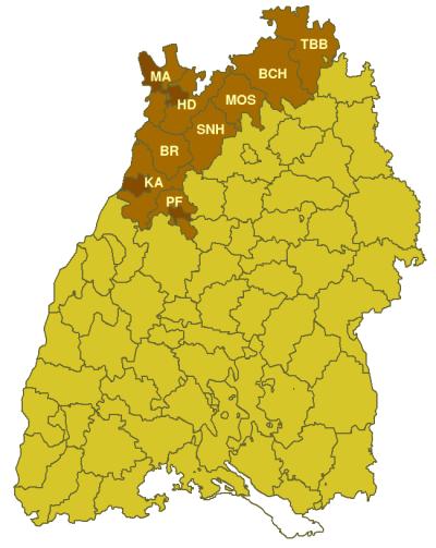 Karte des Regierungsbezirks Nordbaden