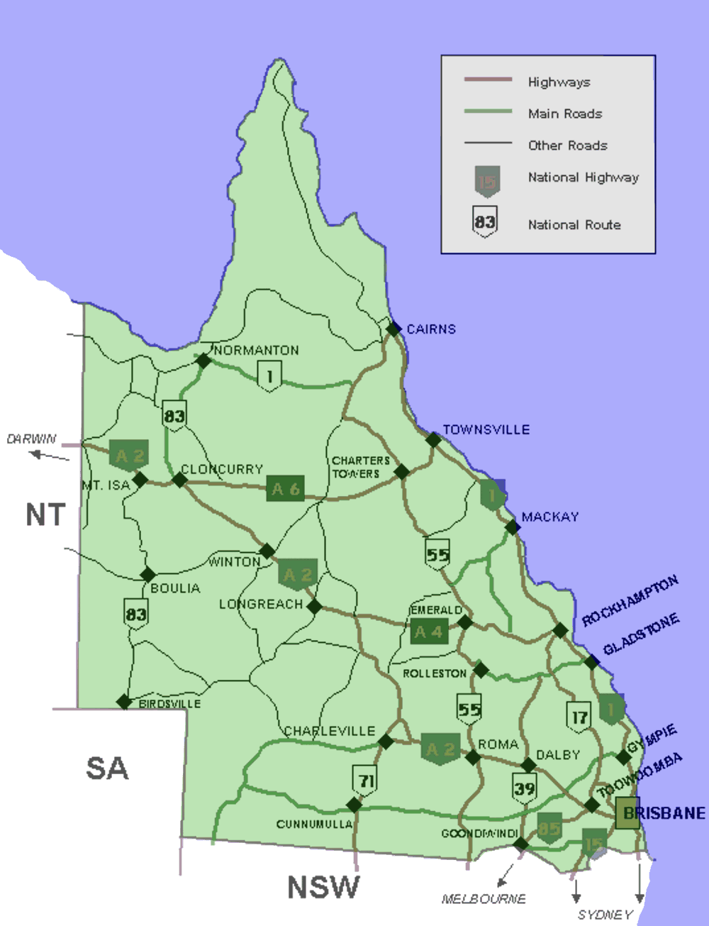 Map of Cairns, Australia from Wikimedia