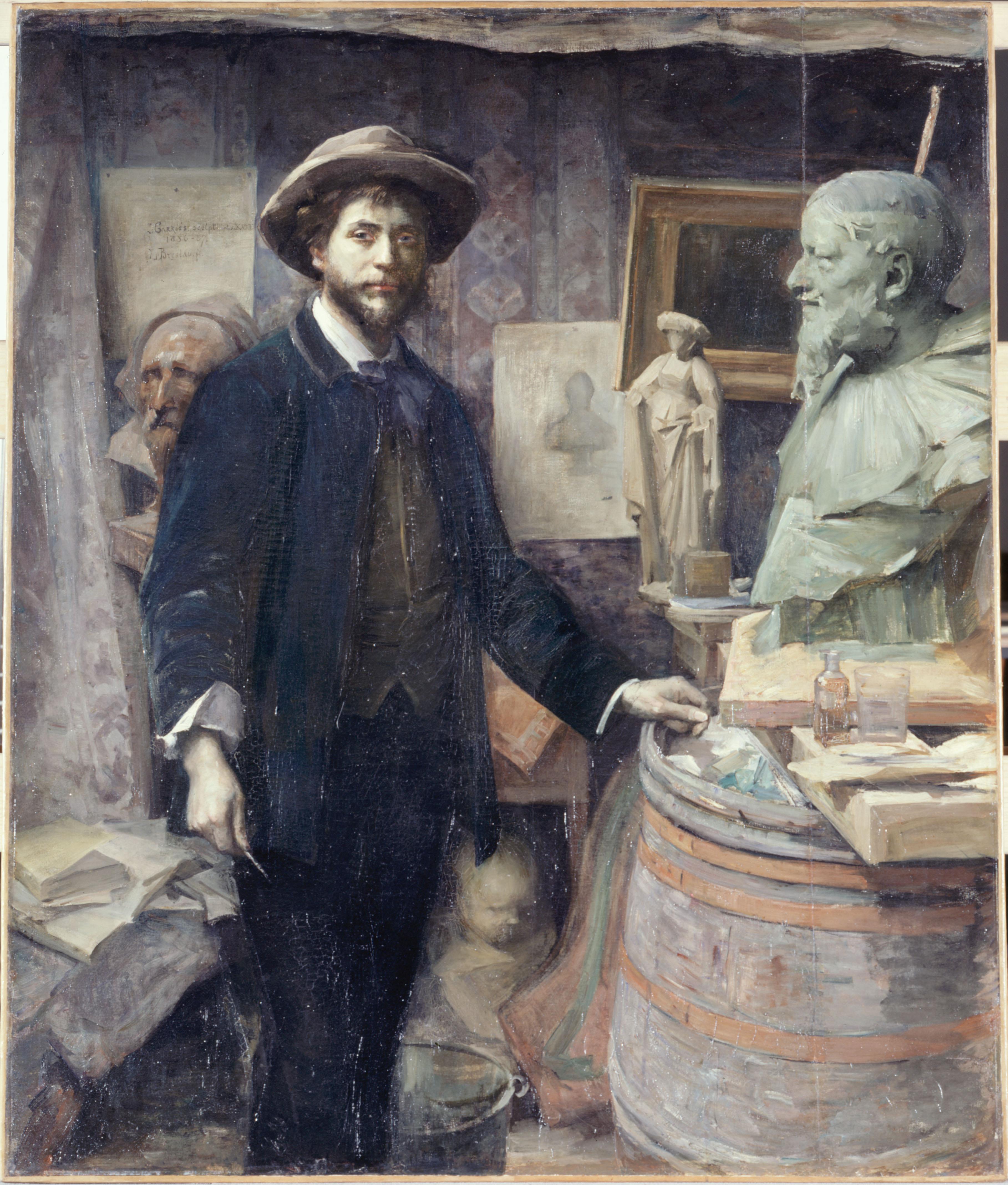 Portrait de Carriès dans son atelier par Louise Catherine Breslau, 1885-1886 Huile sur toile - 165 x 139 cm - Paris, Petit Palais
