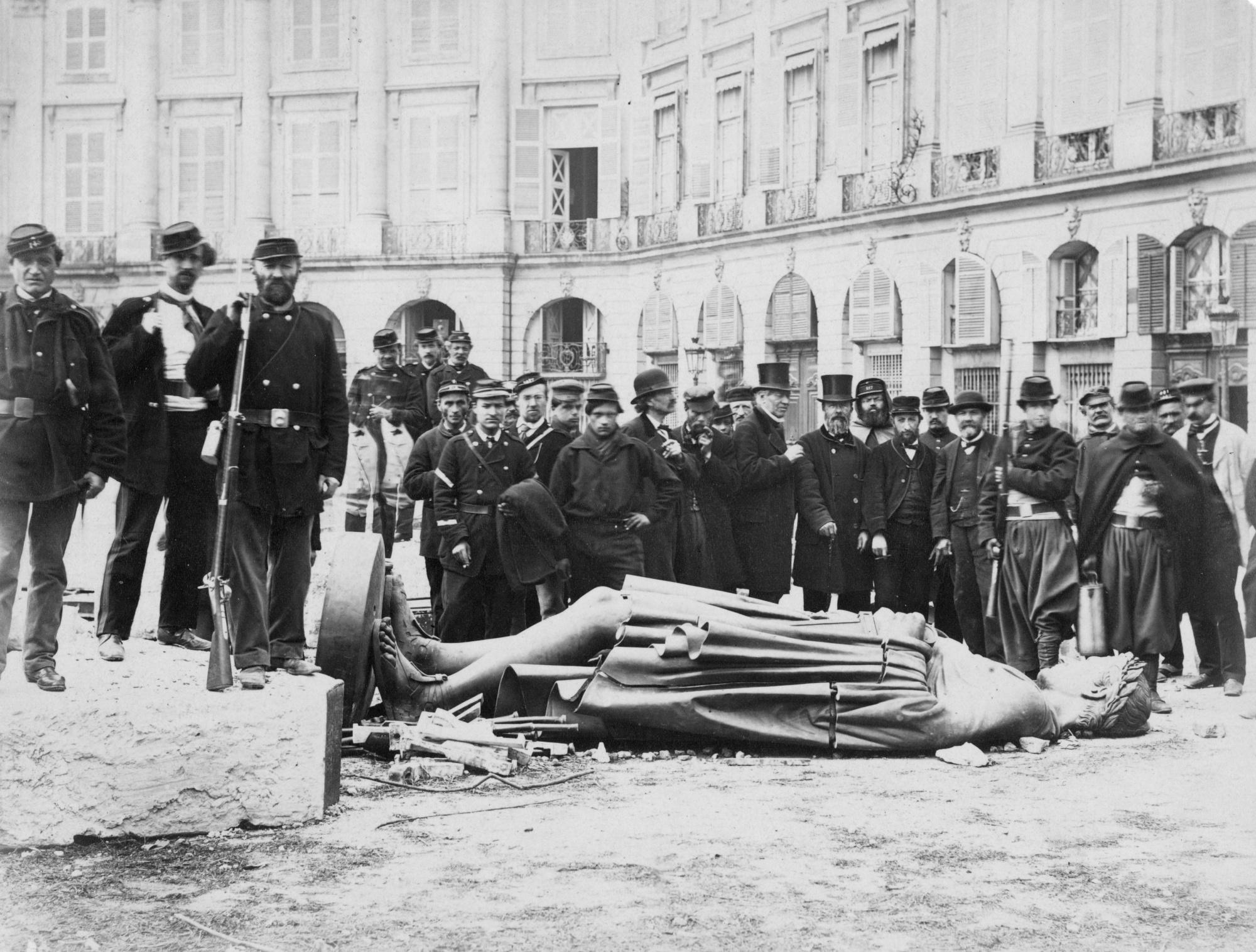Destruction of the Vendome Column during the Paris Commune. The column's destruction realized an official proposition made the previous September by painter Gustave Courbet, who, after the collapse of the Commune, was sentenced to six months in prison and later ordered to pay for putting the column back up. He could never pay, and died soon after in exile. Colonne vendome.jpg
