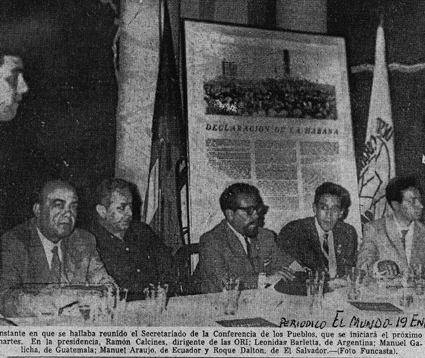 Roque Dalton como representante del país en la Conferencia de los Pueblos en La Habana, 1962.