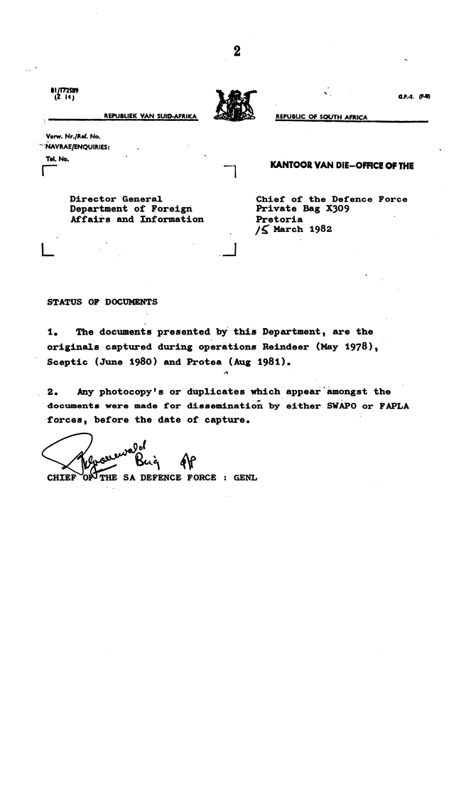 FileCover Letter Intelligence SADF 1982