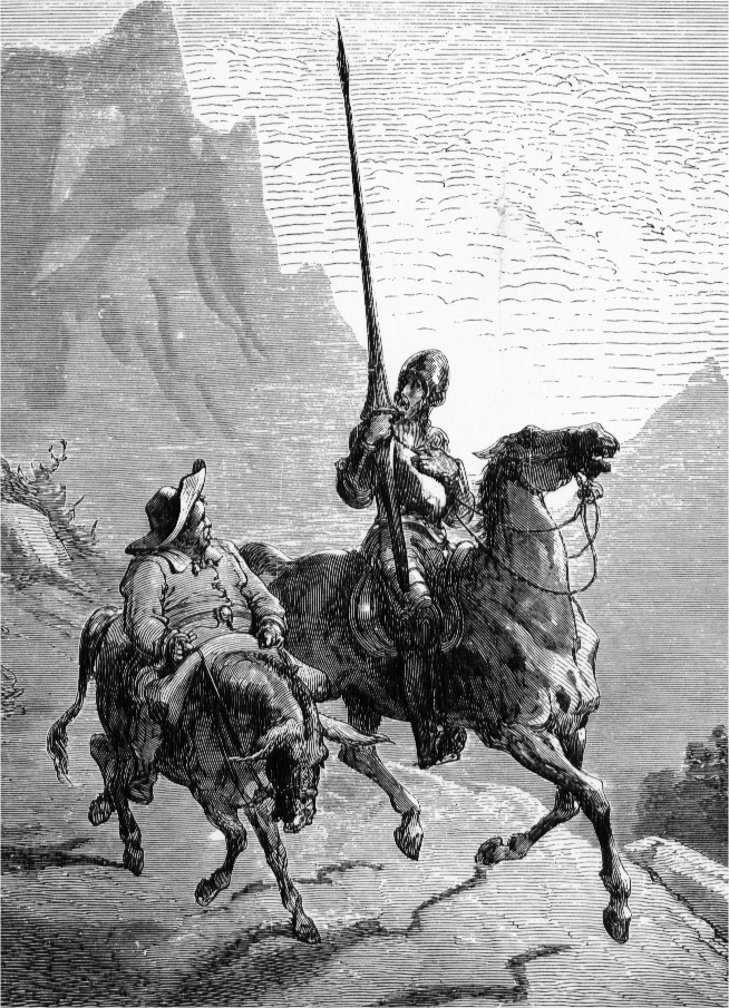 Don Quixote on the way with Sancho Panza - Gustave Dore
