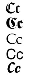 The letter C in different fonts