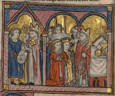 13th century illustration of the marriage of Conrad of Montferrat and Isabella of Jerusalem, unknown author Francais 2824, fol. 173v, Mariage de Conrad de Montferrat et Isabelle de Jerusalem.jpeg