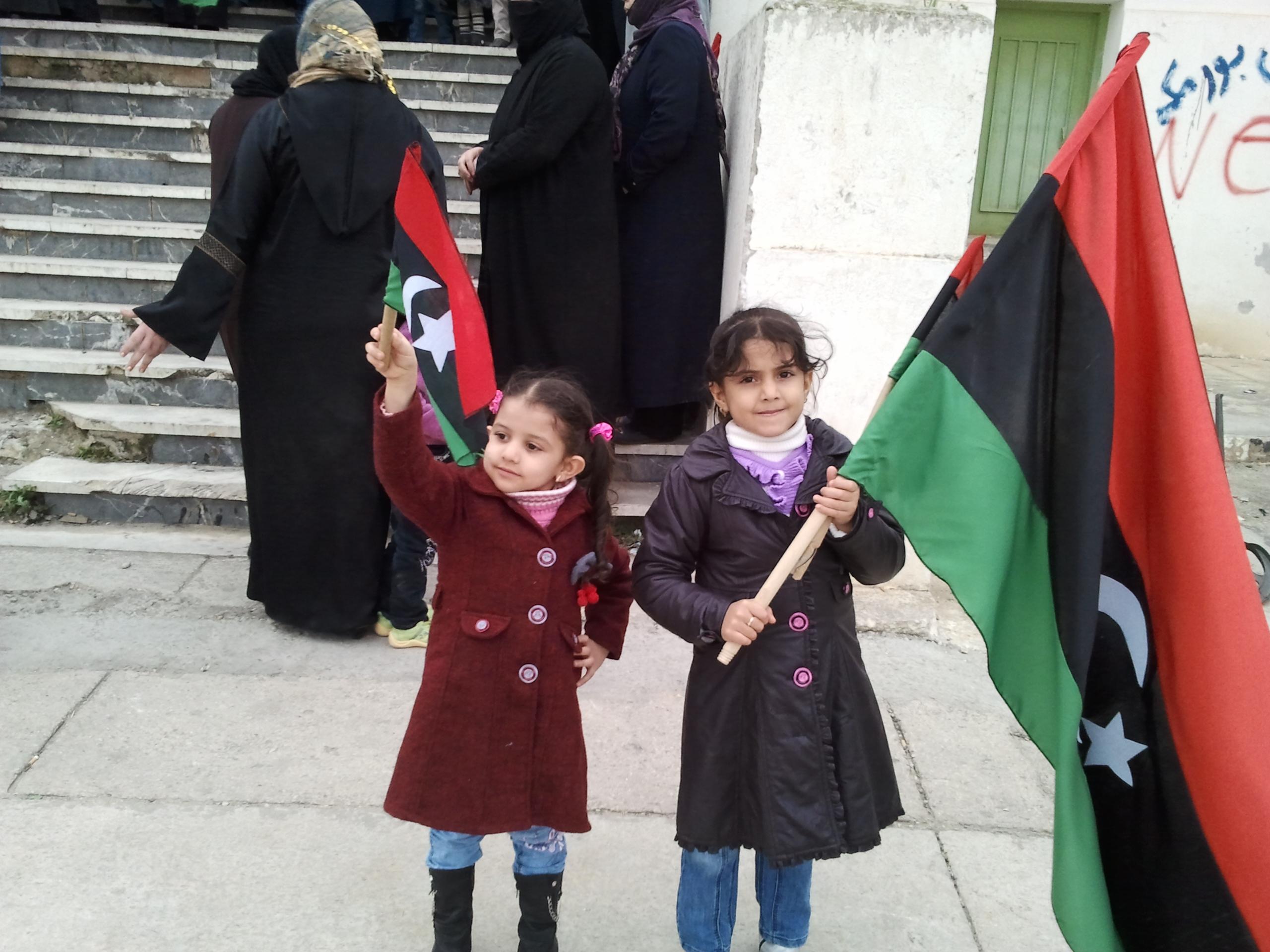 Libya >> File:Girls of Al Bayda (Libya, demonstration against Gaddafi).jpg - Wikimedia Commons
