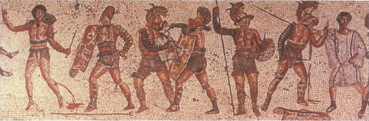 From left, a disarmed and surrendering retiarius and his secutor opponent, a thraex and murmillo, a hoplhus and murmillo (who is signalling his surrender), and the referee (Zliten mosaic, 200 AD) - List of Roman gladiator types