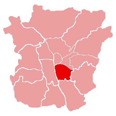 Lage des Bezirks Jakomini