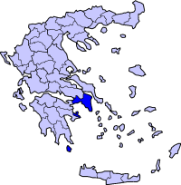 Location of Athens in Greece