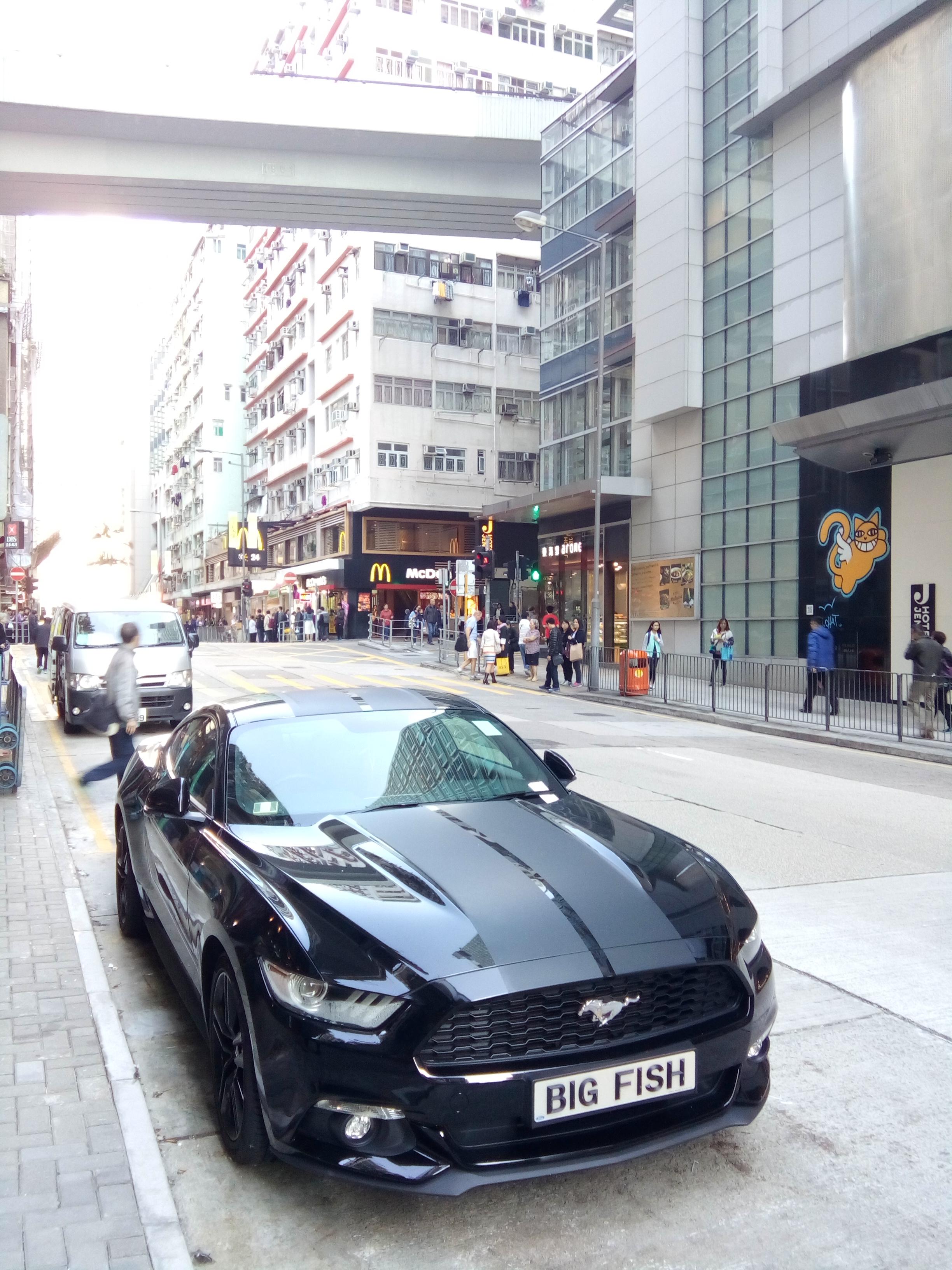 Filehk 石塘 shek tong tsui 野馬跑車 ford mustang race car parking sidewalk in black head queens road west nov 2016 lnv3 jpg
