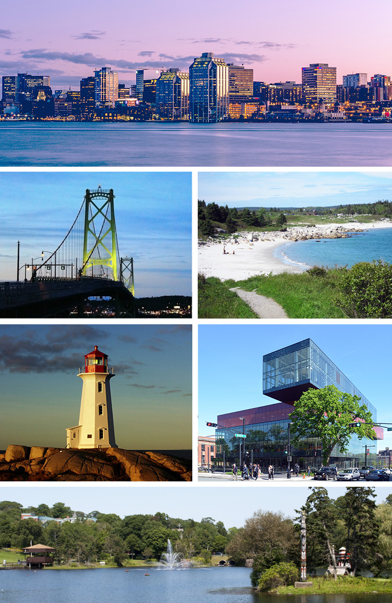 Clockwise from top: Downtown Halifax skyline, Crystal Crescent Beach, Central Library, Sullivan's Pond, Peggy's Cove, Macdonald Bridge