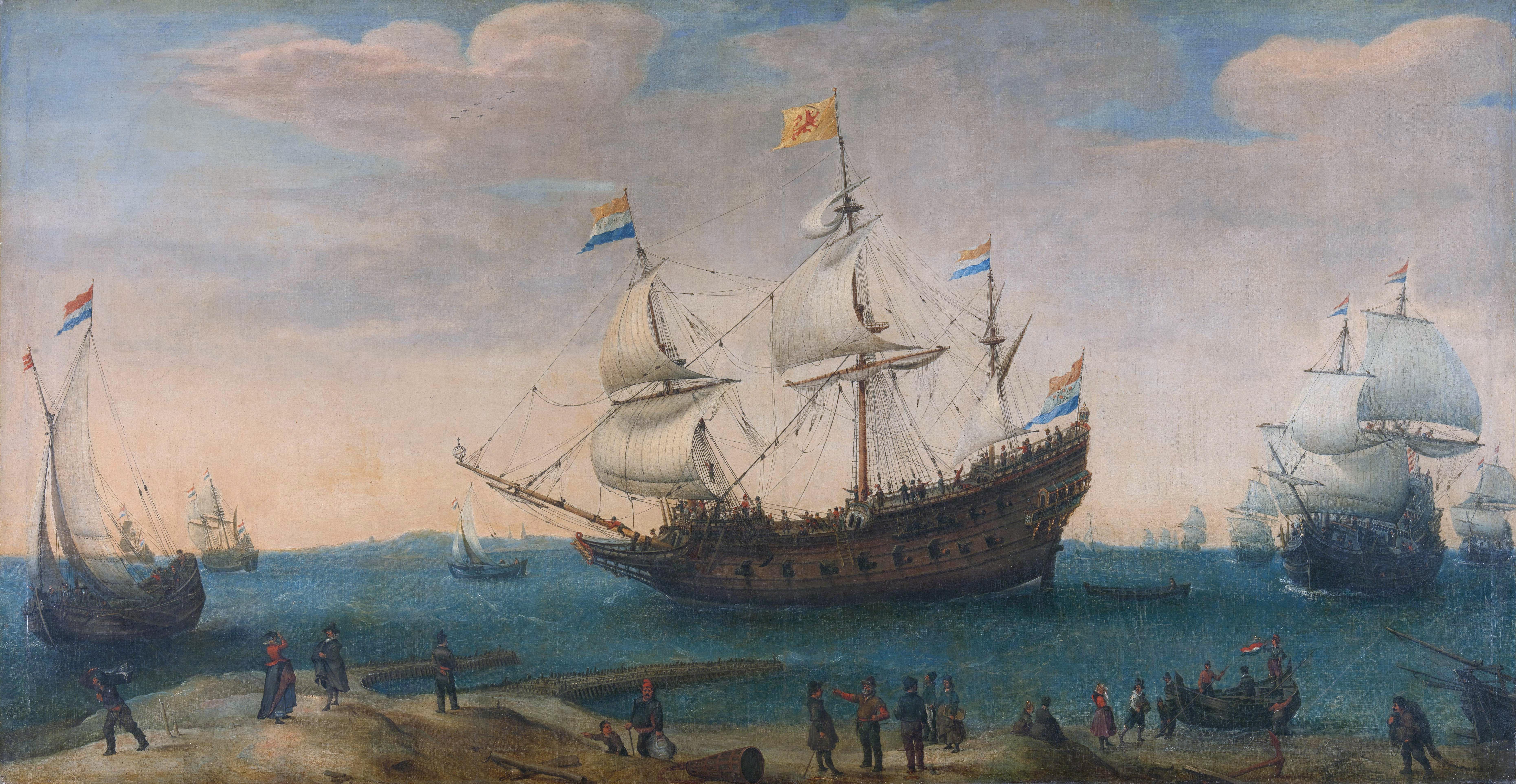 Dutch East-India Men by Hendrick Cornelis Vroom (1562/1563-1640).