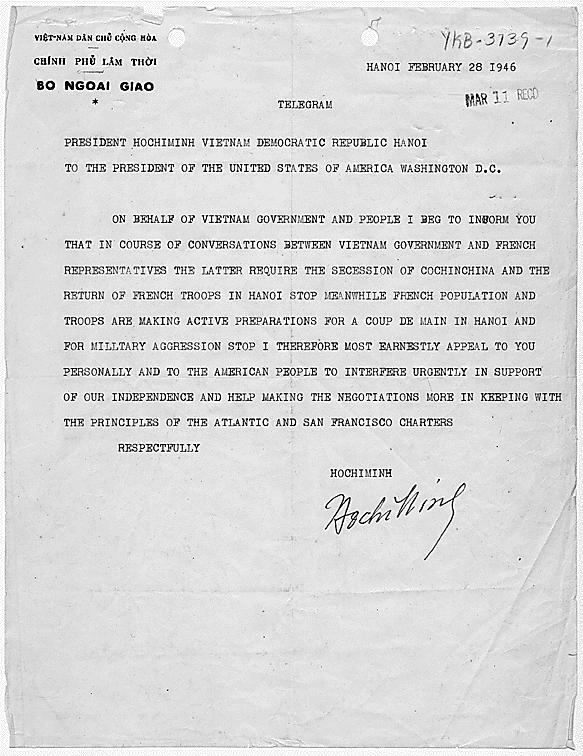 Surat Ho Chi Minh kepada Presiden Amerika Serikat, Harry S. Truman meminta dukungan kemerdekaan