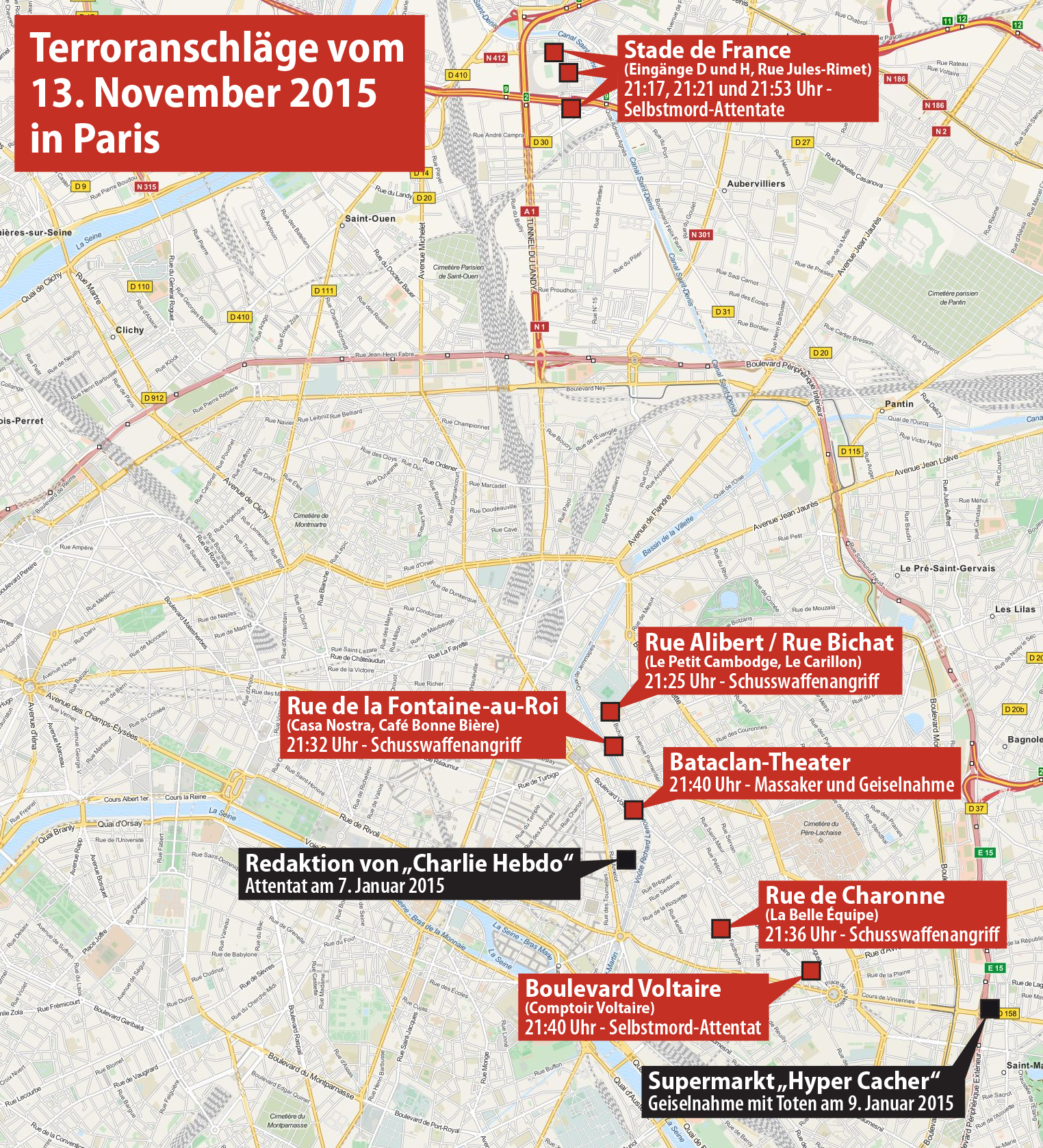 Orte der Anschläge in Paris vom 13./14. November 2015. (Quelle: Maximilian Dörrbecker via Wikimedia Commons unter Lizenz CC-BY-SA 2.0)