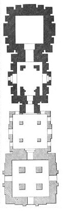 temple plan for four spires of a temple