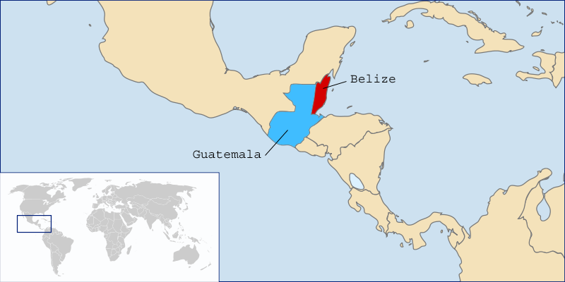 Belize (red) and Guatemala (blue). LocationBelizeandGuatemala.png