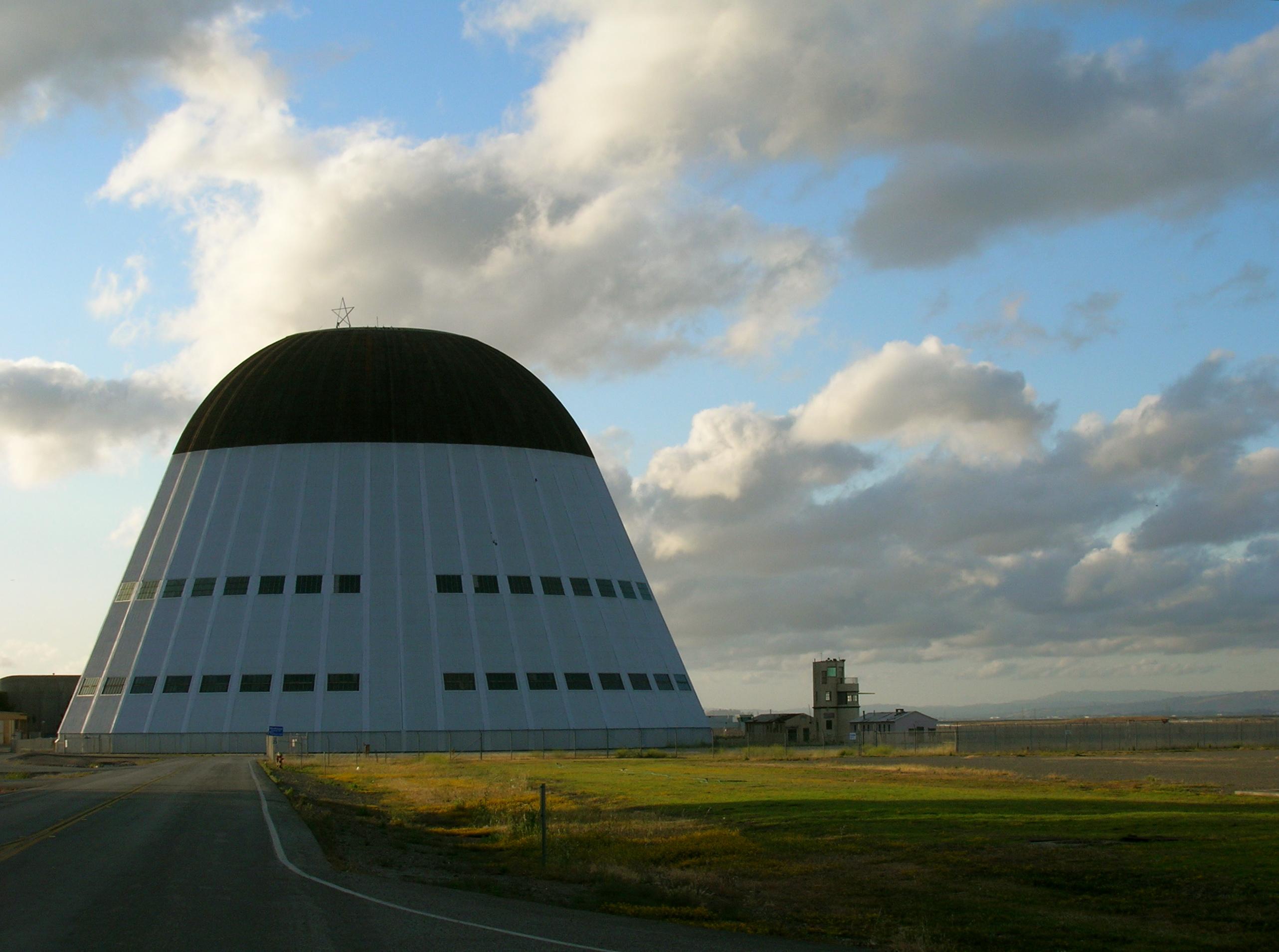 Hangar One, originally a US Navy airship hangar, in Mountain View, California