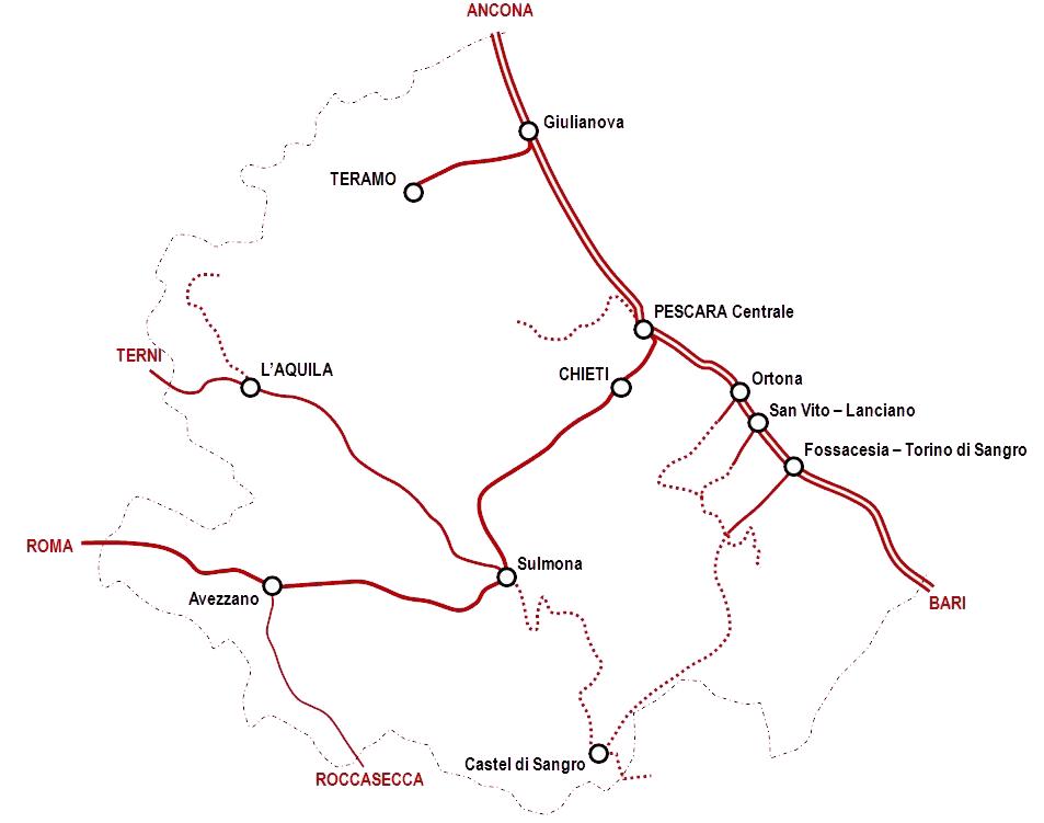 Cartina Ferroviaria Sicilia.Rete Ferroviaria Dell Abruzzo Wikipedia