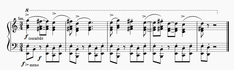 Martinu Symphony No. 1, 1st movement, main theme