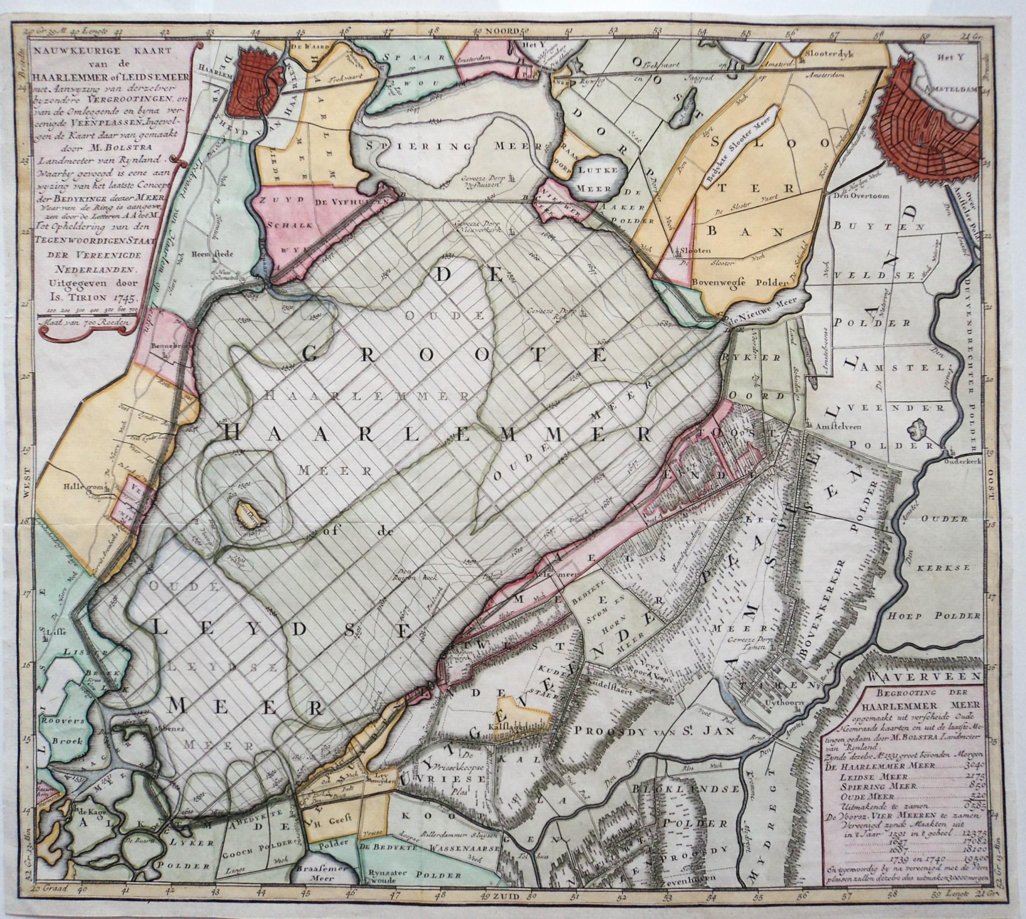 1742: Plan voor droogmaking van het Haarlemmermeer ...