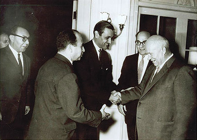 Adnan Pachachi and Krim Belkacem meeting with Nikita Khrushchev, leader of the Soviet Union, in 1960 Nikita Khrushchev meeting Adnan Pachachi.jpg