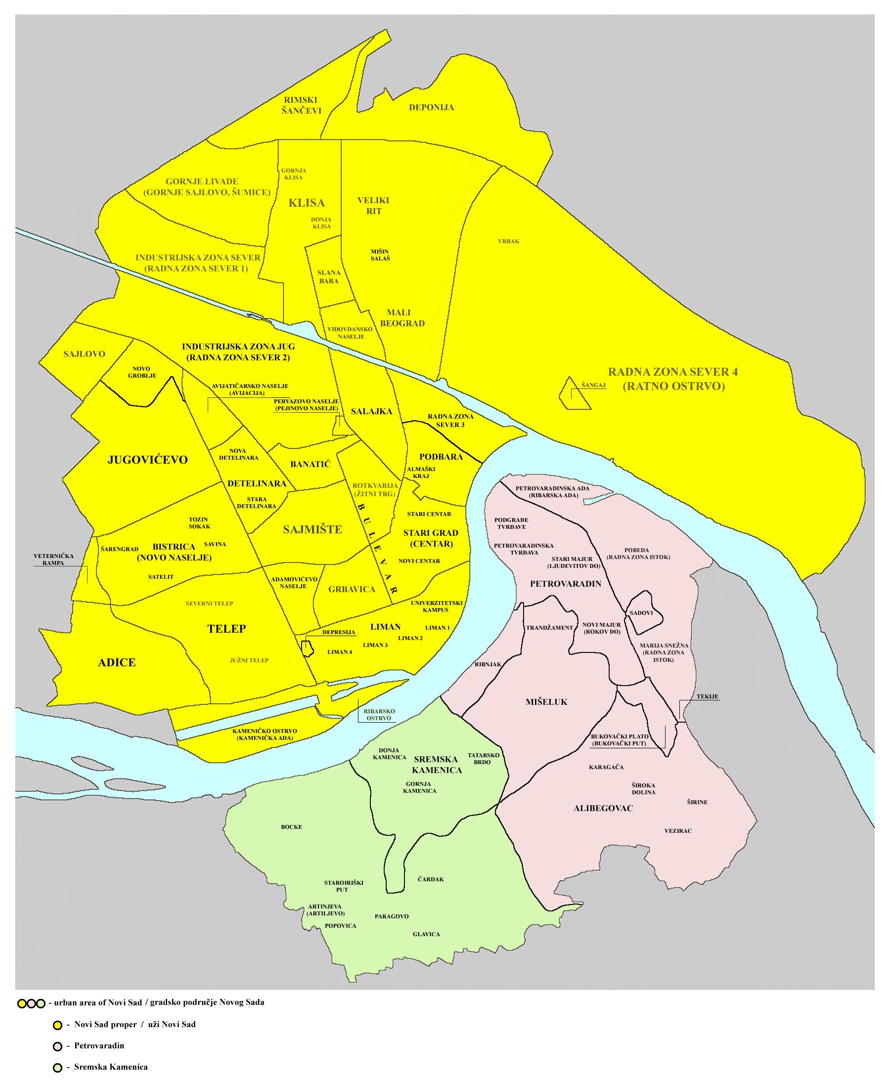 mapa novog sada File:Novi sad quarters.png   Wikimedia Commons mapa novog sada