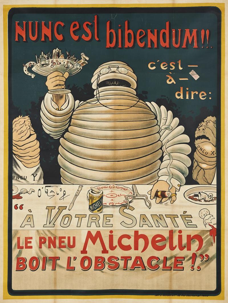 Première affiche Michelin avec Bibendum